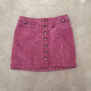 Pink vintage denim skirt